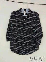 Cotton Plain Black Ladies Printed Shirt, Size: XL