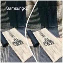 Blue and White Unstitch Ladies Printed Silk Suit, Machine wash