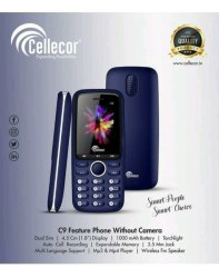 Cellecor Black GSM Cellelor Mobile, Screen Size: 4.5 Cm, Model Name/Number: C9