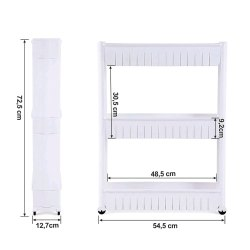 White Free Standing 3 Layer Plastic Kitchen Rack, Size: 54.5 X 30.5 X 48.5 Cm