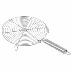 Polished Silver Stainless Steel Round Papad Roaster, For Kitchenware