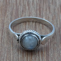 Rainbow Moonstone 925 Sterling Silver Gemstone Jewelry Ring