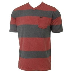 Casual Wear Red And Grey V Neck Cotton Knitted T-Shirt