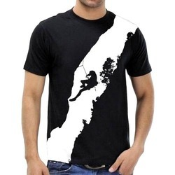 Mens Cotton Black Printed T Shirt, Size: S, M and L
