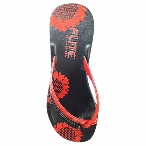 6149376c4 Ladies Flite Red And Black Ladies Slipper, Size: 4-7, Rs 110 /pair ...