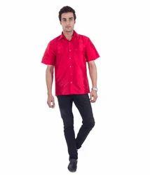 c2f8168409744c Plain Scot Wilson Men s Dark Red Silk Shirt