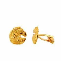Golden Horse In 92.5 Sterling Silver Cufflinks
