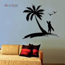 Decor Kafe Black Palm Coconut Tree Wall Decal With Seagull Birds Wall Stickers