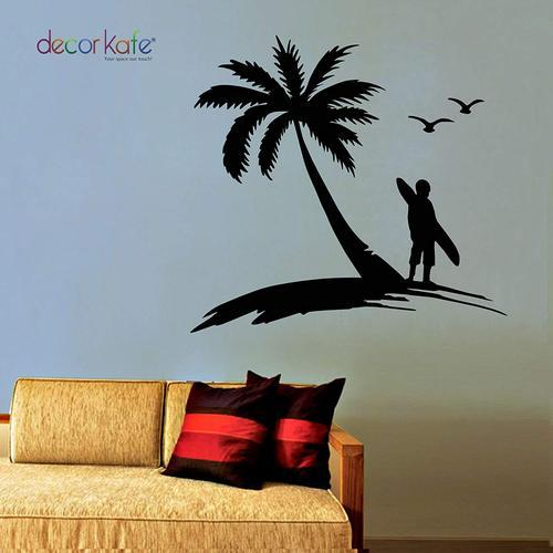decor kafe black palm coconut tree wall decal with seagull birds