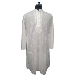Mens White Chikan Embroidered Kurta