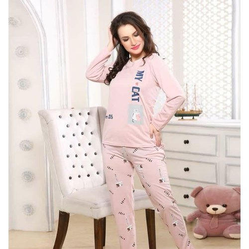 Cotton Ladies Full Sleeve Night Suit, Size: S-XXL
