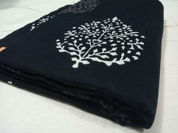 Cotton Black And White Hand Block Print Fabric, Use: Garments