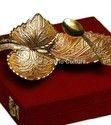 Gold Plated Brass Designer Indian Leaf Platter Spoon Set