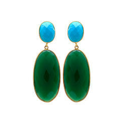 Green Onyx & Turquoise Beautiful Comination Gemstone Fashionable gold Plated Earring