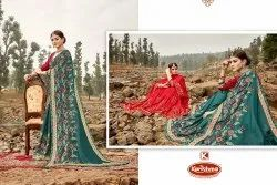 Dyed Fancy Embroidery & Diamond Work Saree with Lace - Crystal 02