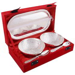 German Silver Two Bowls And Tray Gift Set