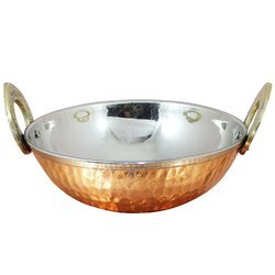 Hammered Copper Karahi With Handle