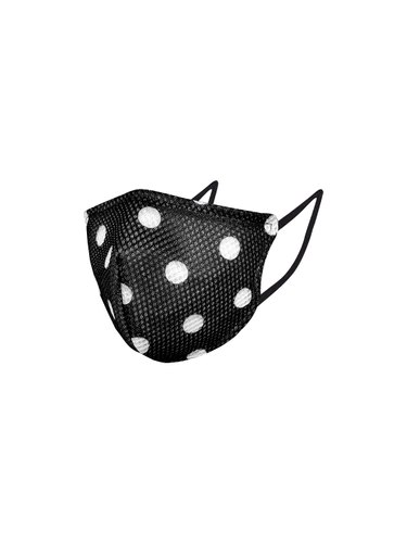 BLACK POLKA PRINT MASK A-95
