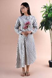 Jaipur Ikkat Stripe Flap Neck Maxi, Full Button One Side Cut, A Line Full Stylish Dress, Cotton, Han