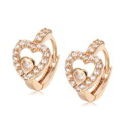 Baby Heart Earrings In Diamonds & Yellow Gold Jewelry