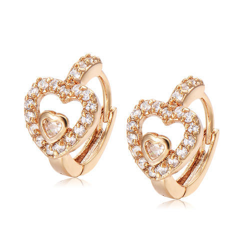 Baby Heart Earrings In Diamonds Yellow Gold Jewelry at Rs 12864