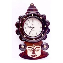 BM Handicrafts Brown Wooden Decorative Wall Mounted Clock