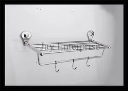 Silver Wall Mount Double Layer Towel Rack, Size: 24
