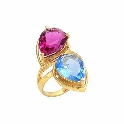 Pink Tourmaline Hydro  and Tanzanite Hydro Gemstone Ring