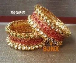 Wedding Wear Copper Kundan Bangle