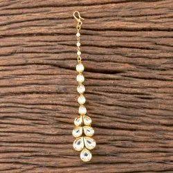 Brass White Gold Plated Kundan Classic Tikka 300418