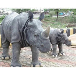Fiber Rhino genda Statue