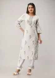 3/4 Sleeves Printed With Hand Work Ladies Cotton Kurti With Palazzo