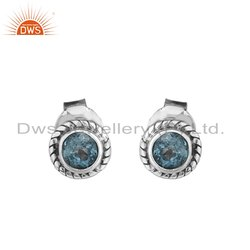 Blue Topaz Gemstone Antique Silver Oxidized Stud Earrings
