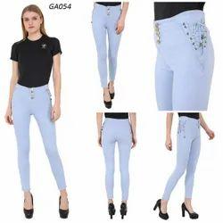 High Rise Button Light Blue Side Dori Denim Jeans For Women