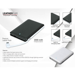 Leather Finish Slim Power Bank