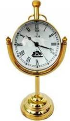 H.H Traders Golden Brass Analog Table Clock