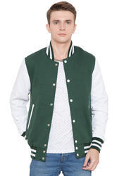 Dark Green Wool Body With White Leather Sleeves Varsity - Men