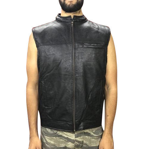 ee4394360a4225 Pu Leather Black Mens Sleeveless Jacket