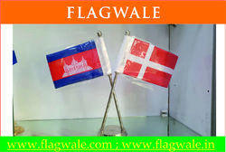 Table Flag Cross Steel Stand