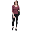 Women 100% Cotton Solid Maroon T-shirt