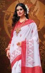 Apple Pooja Premium Linen Printed Saree