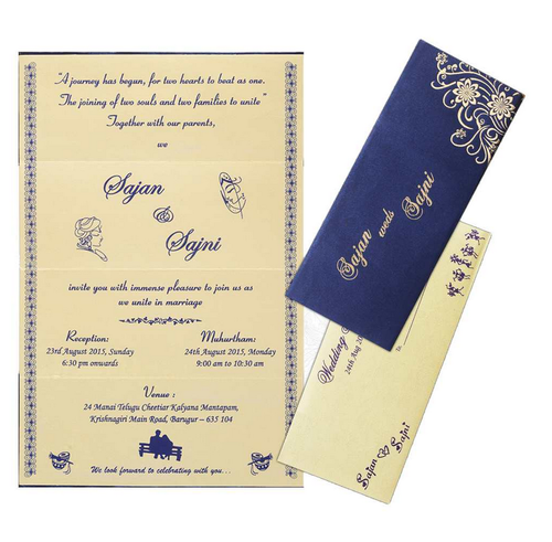 Elegant blue personal marriage card designer wedding invitation elegant blue personal marriage card stopboris Gallery
