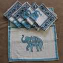 Elephant Printed Dining Table Mat Set