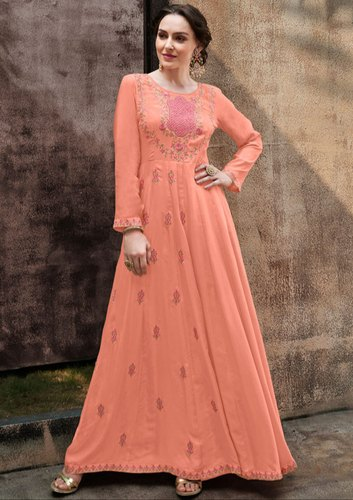 8c2cd39c3 Rayon Party Wear Peach Embroidered Gown