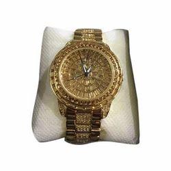 Aabhasa Golden Mens Wrist Watch