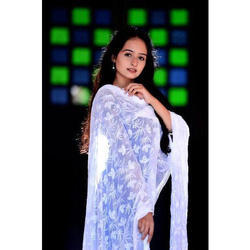 Cotton White Dupatta, Length: 2.25 - 2.5 meter