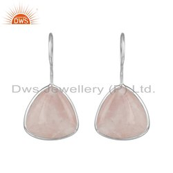 Rose Quartz Gemstone 925 Sterling Fine Silver Designer Earrings