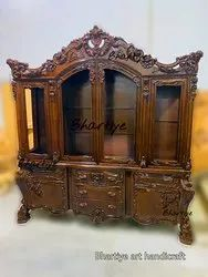 Brown Wooden Carved Showcase Cupboard, For Home, Size: 6ft X 7ft