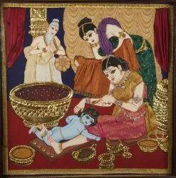 Krishna having bath Tanjore Painting