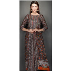 Cotton Round Neck Printed Long Kurti, Size: S - XXXL